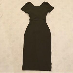 Zara olive green cross-back bodycon midi dress